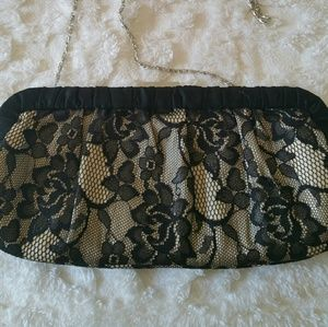 Call it Spring Black and Gold Lace Clutch Purse